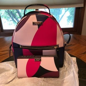 Kate spade backpack with matching wallet